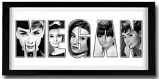 Audrey Hepburn Personalizado Nombre Arte-Alta Calidad De Impresión Marco Incluido