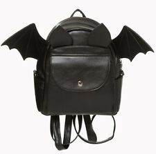 Banned Gothic Bat Wings Faux Leather Backpack School Bag Rucksack Waterproof