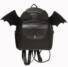 Banned Gothic Bat Wings Faux Leather Backpack School Bag Rucksack Waterproof