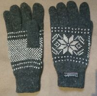 Paire de gants Thinsulate grise avec flocons blancs (Gloves grey w/ white flake)