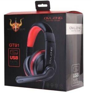 OVLENG GT91 USB Stereo PC Gaming Headset Headphones Skype Online chat Mic NEW