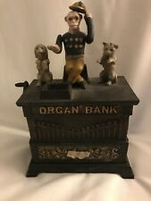 Antique Monkey Playing Organ Cast Iron Bank