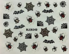 Nail Art 3D Glitter Decal Stickers Halloween Spider Web Bats BLE924D