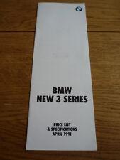 BMW 3 SERIES  PRICE LIST & SPECIFICATIONS BROCHURE APRIL 1991 jm