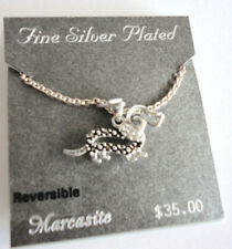 """NEW Marcasite & Silver DACHSHUND Dog 18"""" NECKLACE Reversible Marcasite Jewelry"""
