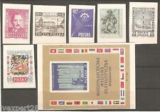 Poland lot of 6 stamps + 1 S/S imperf. WZOR proof. -see scans !