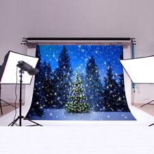 7x5ft Christmas Snow Xmas Tree Photography Background Studio Photo Prop Backdrop