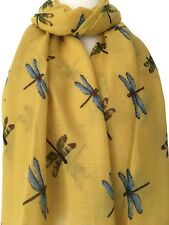 Yellow Dragonfly Scarf Ladies Blue Mustard Dragonflies Wrap Shawl Sarong New