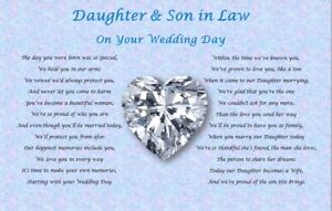 DAUGHTER & SON IN LAW GIFT- Wedding Day  (Poem gift)