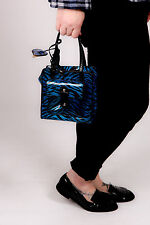 60s vintage style blue & black zebra print box bag by Cupcake of London MOD