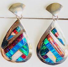 LARGE RED Black Blue FIRE OPAL Drop Dangle Sterling Silver 925 Earrings Ladies