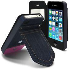 Coque Housse Folio Pour iPhone 4 / 4S Finition Jeans poche arriere avec Stand Ro