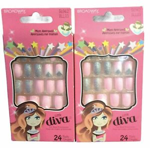 2 PK Broadway Little Diva Nails 24 Nails Pink And Silver Glitter (7F)