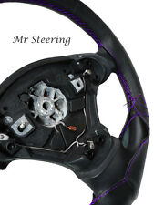 FOR FIAT PUNTO MK2 1999-2006 BLACK LEATHER STEERING WHEEL COVER PURPLE STITCHING