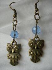 Owl earrings. Blue . Hand made. New