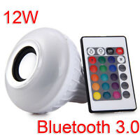 Multi-Color E27 RGB LED Bulb Light Bluetooth Audio Speaker Lamp Remote Control