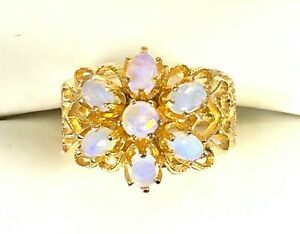 SOLID 14K YELLOW GOLD .83 CTW NATURAL OPAL CABOCHON CLUSTER FLOWER HEART RING 8