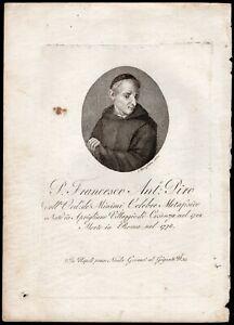 Incisione del teologo e filosofo Francesco Piro (Aprigliano, 1702 - Roma, 1778)