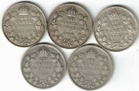5 X CANADA TEN CENTS DIMES KING GEORGE V SILVER COINS 1917 1918 1919 1920 1921