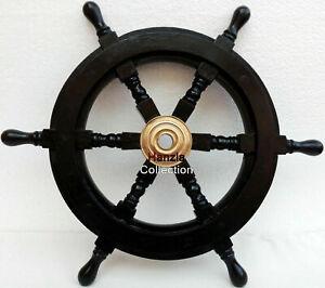 Nautical BLACK WOOD Captain's Boat Ship Steering Wheel 18'' Decorative Handmade