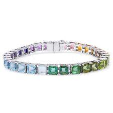 Natural Semi-Precious Gemstones 40.72 carats set in 18K White Gold Bracelet