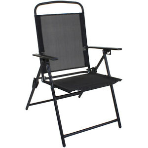 BLACK FOLDING CHAIR OUTDOOR GARDEN PATIO FURNITURE BLACK TEXTOLINE RELAXER SEAT