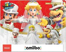 Super Mario Odyssey Amiibo 3-Pack Wedding Outfit Mario, Peach And Bowser In Hand