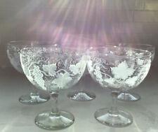 Set of 5 Etched Crystal Grapevine Design Dessert Glasses