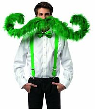 "Rasta Imposta Super Stache Men's Large Halloween Costume Moustache Green 60"" NEW"