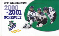 2000-01 SWIFT CURRENT BRONCOS HOCKEY POCKET SCHEDULE