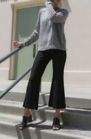 RACHEL COMEY BLACK HIGH RISE CROPPED FLARED TROUSERS PANTS SIZE 6