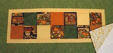 """Hand Quilted HARVEST, PUMPKINS, SCARECROW Table Runner 17"""" x 36"""""""