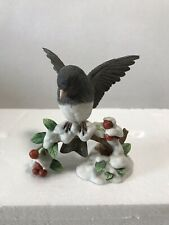 """Lenox """"Dark-eyed Junco Sitting on a Snow Covered Branch with Berries and Leaves"""""""