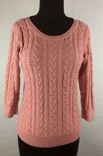 Basic Womens Rose Pink Sweater Crochet Style Top Blouse