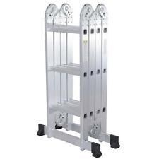 Practical 12-Step Joints Aluminum Folding Ladder Silver