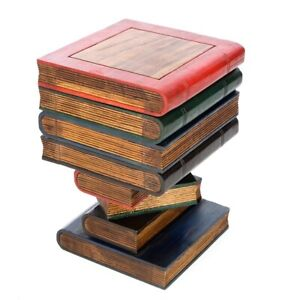 Stacked Book Storage Table/Hand Carved/Solid Acacia Wood/Lamp Table/Painted