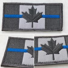 THIN BLUE LINE Canadian Maple Flag Police Army Tactical Morale Hook/Loop Patch
