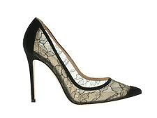 Gianvito Rossi Elodie Damen-Schuhe Pumps Heels mit Absatz Schwarz Leder