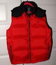 POLO RALPH LAUREN  Youth Boys Red/Black Puffy Vest Down Sz L 10-12