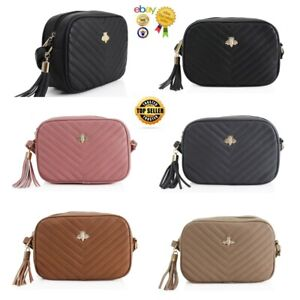 New Women's Stylish Quilted Design Messenger Bag With Bee Badge And Tassel Zip