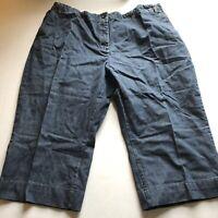 Lands End Blue Jean Crop Capri Pants Elastic Waist Sz 22W A224