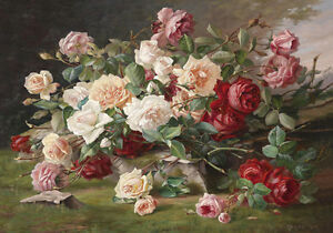 Provincial French Roses Painting Still Life Flowers Quality Canvas Print A3