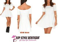 New Ladies Womens Mirabela Value Bardot Skater Dress In White Size 6,8,10,12,14