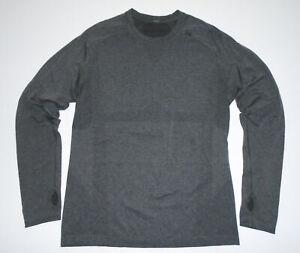 LULULEMON Athletic T-Shirt GRAY Metal Vent Tech Long Sleeve Thumb Holes Mens MD