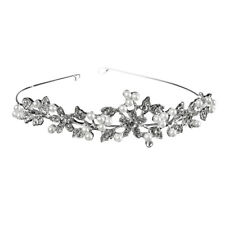 Wedding Party Bridesmaid Flower Girls Crystal Pearl Crown Flower Headband Tiara