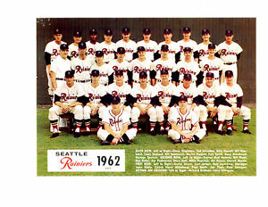1962 SEATTLE RAINIERS PCL TEAM 8x10 PHOTO RED SOX  BASEBALL PESKY SMITH