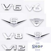 Chromzeichen V6 V8 Logo für Mercedes Mini Mitsubishi Nissan Opel Peugeot NEU