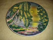 Vintage Royal Baden Plate-West Germany-Raised Palm Trees & Ocean View-Painted