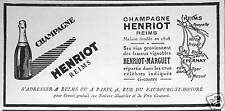 PUBLICITÉ CHAMPAGNE HENRIOT MARGUET REIMS