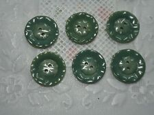 Vintage Moss Green Carved Round Buttons-Qty 6